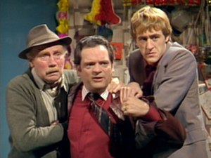 Only Fools and Horses - The original Only Fools and Horses line-up of (left to right) Grandad (Lennard Pearce), Del Boy (David Jason) and Rodney (Nicholas Lyndhurst) lasted from 1981 to 1984.