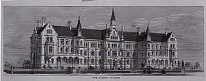 Presbyterian Ladies' College, Melbourne - Wood engraving of the planned Ladies' College, 1875. Only half was eventually built.