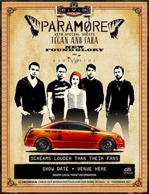 Brand New Eyes World Tour - Image: Paramore Civic Tour