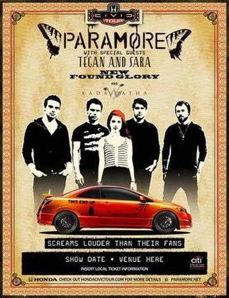 Brand New Eyes World Tour - Image: Paramore Civic Tour
