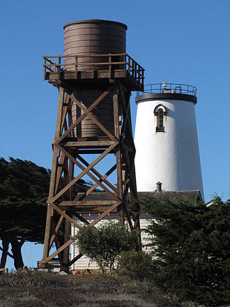 Piedras Blancas Light Station - In 2013, a replica 50 foot water tower was completed to hold public safety communications equipment.
