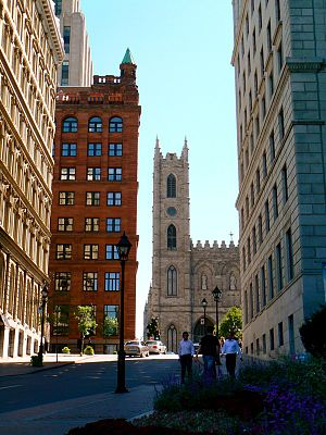 Quiet Revolution - The hill leading to Place d'Armes in Montreal, an important historic site of French Canada