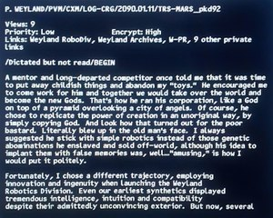 Blade Runner - Screen capture of DVD bonus feature from Prometheus (2012), a dictated letter by Peter Weyland about Eldon Tyrell, Chief Executive Officer of the Tyrell Corporation