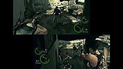 Still from the game with Chris Redfield (back to player) and Sheva Alomar (facing the player)
