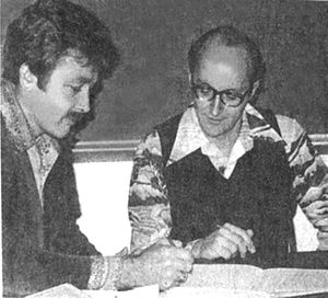 Ron Larson - Larson and Hostetler signing first contract, 1976