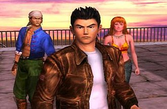 Shenmue - Ryo (center), Ren (left) and Joy (right) in a scene from Shenmue II