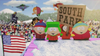 South Park - The current title card, which features the four main characters. On the roof from the left: Stan, Kyle, Kenny and Cartman.