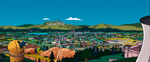 A panoramic view of Springfield (as seen in The Simpsons Movie)