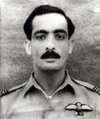 Hilal-i-Jur'at - Portrait of Squadron Leader Sarfaraz Ahmed Rafiqui, recipient of the Hilal-i-Jur'at, earned owing to his exceptional stance during the 1965 Indo-Pak War