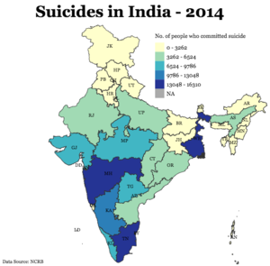 Suicide in India - State-wise distribution in 2014