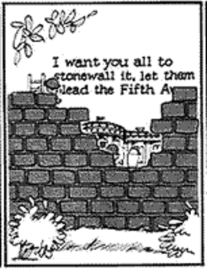 "Doonesbury - A panel from the famous Doonesbury ""Stonewall"" strip, referring to the Watergate scandal, from August 12, 1974; awarded the Pulitzer Prize"