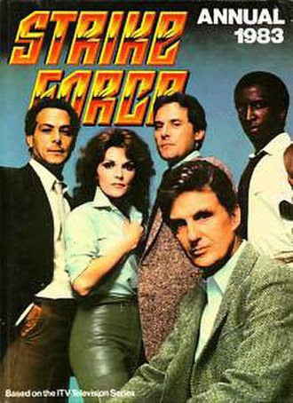 Strike Force (TV series) - Main cast: (L to R) Richard Romanus, Trisha Noble, Michael Goodwin, Dorian Harewood; (seated) Robert Stack