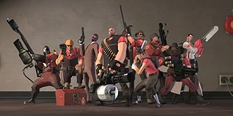 Team Fortress 2 - From left to right: Pyro, Engineer, Spy, Heavy, Sniper, Scout, Soldier, Demoman and Medic