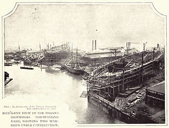 Thames Ironworks and Shipbuilding Company - Warships being built at the eastern site in or slightly before 1902