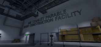 "A storage facility with grey floors and off-white walls. Catwalks are suspended above the player, and there are some boxes stacked over to the right. On the wall in block letters is the phrase ""The Stanley Parable Demo Construction Facility""."