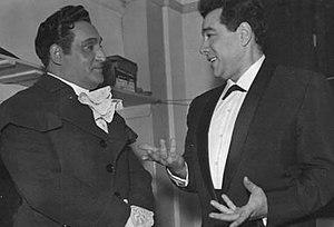 Tenor Richard Tucker (left) speaking with Mario Lanza in 1958 at Tucker's Covent Garden debut.