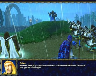 """Warcraft III: Reign of Chaos - An example of how the game handles plot exposition through cutscenes: Arthas decides to cull the city Stratholme before the Undead can claim the population to the disgust of his mentor and friend. The mission """"The Culling""""  was favorably noted by critics as the pivotal turning point for the character as well as for the moral dilemma it posited."""