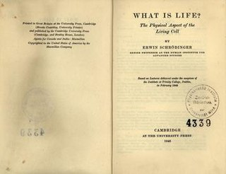 <i>What Is Life?</i> 1944 non-fiction science book written for the lay reader by physicist Erwin Schrödinger