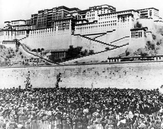 1959 Tibetan uprising - 17 March 1959: Thousands of Tibetan women surround the Potala Palace, the main residence of the Dalai Lama, to protest against Chinese rule and repression in Lhasa, Tibet. Hours later, fighting broke out and the Dalai Lama was forced to flee to safety in India. Photograph: AP