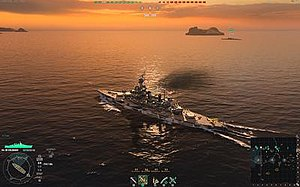 World of Warships - In game screenshot with the HUD visible and a Colorado-class battleship under the player's control, one of many ships the player can acquire through gameplay.