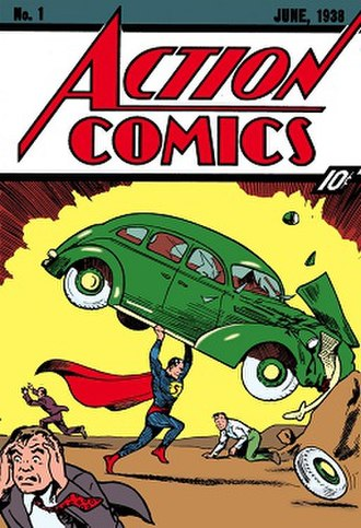 Action Comics - ''Action Comics'' #1 (June 1938), the debut of Superman. Cover art by Joe Shuster.