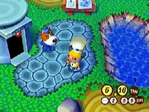 Animal Crossing (video game) - A screenshot of the overworld, featuring the player's character. The game features graphics from the Nintendo 64 version.