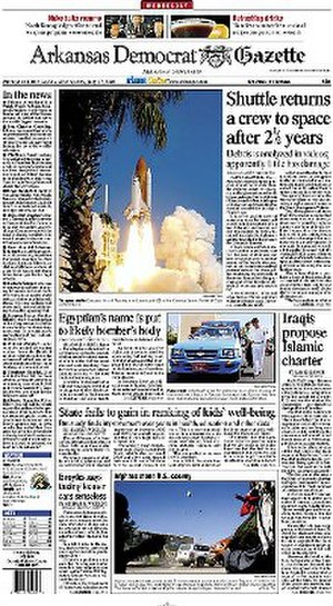 Arkansas Democrat-Gazette - The front page of the Wednesday, July 27, 2005 issue of the Arkansas Democrat-Gazette