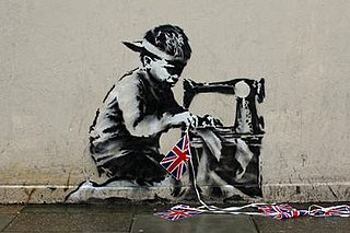 <i>Slave Labour</i> (mural) painting by Banksy (street artist)