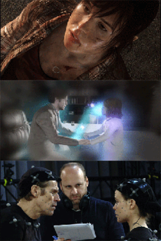 Beyond: Two Souls - Scenes from the game: Jodie Holmes (top), Aiden's view of Nathan Dawkins and young Jodie (note his spiritual tether, middle), Willem Dafoe, David Cage, and Ellen Page working on the motion capture (bottom)