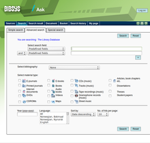Screenshot of the older Ask version of Bibsys, showing the advanced search field Bibsys Ask screenshot.png