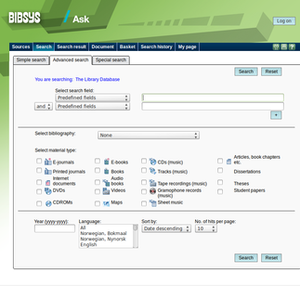 Bibsys - Screenshot of the older Ask version of Bibsys, showing the advanced search field