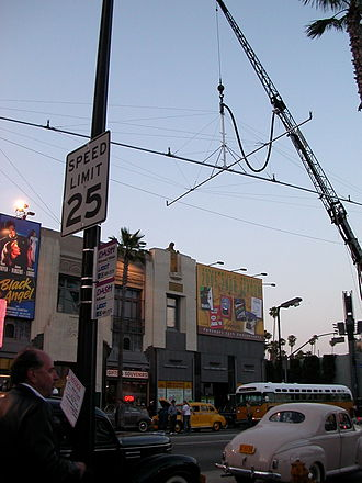 Filming location - Location shoot for The Black Dahlia, June 2005, on Hollywood Boulevard.