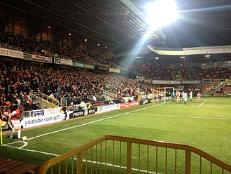 Dundee United F.C. - United (in red) versus Kilmarnock at Tannadice in the 2013–14 Scottish Cup.