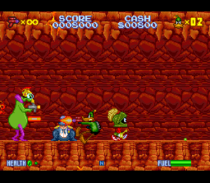 Daffy Duck: The Marvin Missions - In this boss fight, Duck Dodgers fights Marvin the Martian's army of Instant Martians to save the politician in distress.