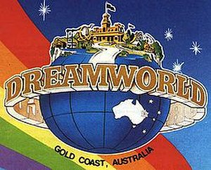 Dreamworld - Possibly the original Dreamworld logo with a generic log ride hut, paddle steamer, single loop coaster, main entrance building, wooden style coaster and train pictured. Some of the attractions depicted in this logo never existed at the park.