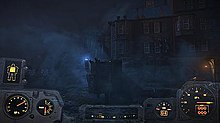 A screenshot of the gameplay in Fallout 4, with the player in a foggy environment with the Power Armor HUD.