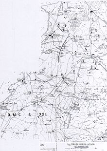 Falls Map 9 shows the British Empire attacks from 12 to 14 November in particular the 13 November's attack by the infantry. Top left hand corner of map is missing.