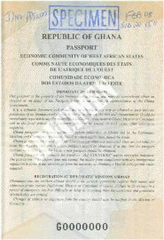 Ghanaian passport - Message page from the Ghanaian passport