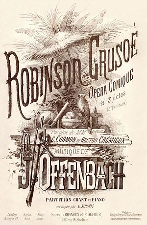 Robinson Crusoé - 1867 vocal score cover