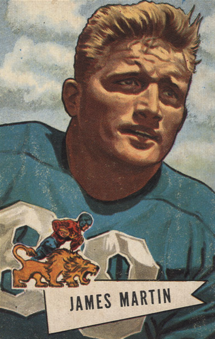 Jim Martin on a 1952 Bowman football card in a Detroit Lions uniform