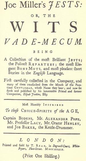John Mottley - Title page for Joe Miller's Jests (1739), written by Mottley as Elijah Jenkins.