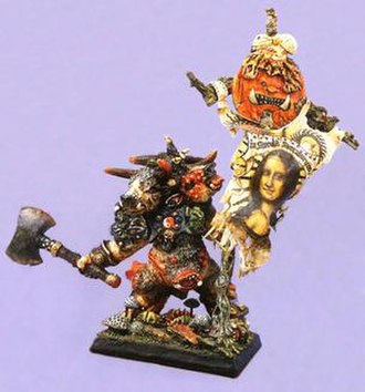 John Blanche - Blanche's Chaos Minotaur with Mona Lisa banner conversion, which won him the Master Painter award at Games Day 1987.