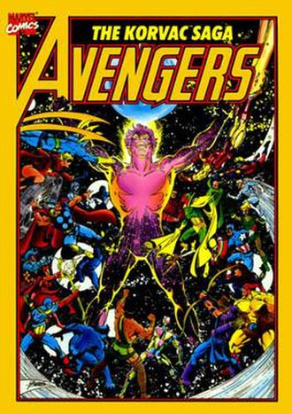Korvac - Korvac (center) on the cover of the trade paperback edition of Avengers: The Korvac Saga (1991). Art by George Pérez.