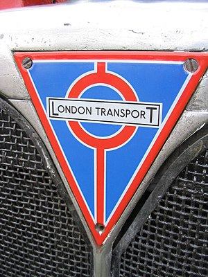 "History of public transport authorities in London - London Transport badge on a 1950s ""RT"" Type Bus"