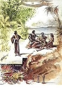 Theatre poster showing figures in classical dress on a beach with a seascape in the background and a burning city in the foreground