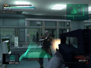 Metal Gear Solid: The Twin Snakes - Snake fires at Gray Fox from a first-person perspective.
