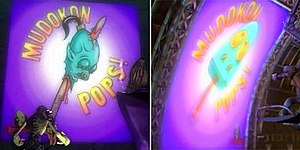 """Oddworld: Abe's Oddysee - On the left is the original """"Mudokon Pops!"""" packaging, with the altered version to the right (as seen in Abe's Exoddus)"""