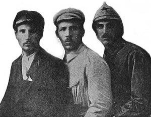 Tatarbunary uprising - Andrei Kliushnikov (Nenin), left, Nicolai Shishman (Afanasiev), center and Covali (dressed in Red Army uniform) on the right.