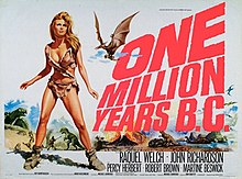 Theatrical poster with Welch against backdrop of dinosaurs attacking humans