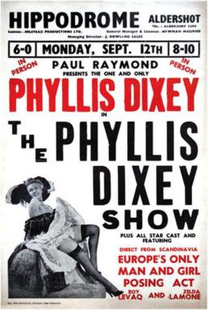 Phyllis Dixey - Poster advertising Dixey's act- the Hippodrome at Aldershot (1955)